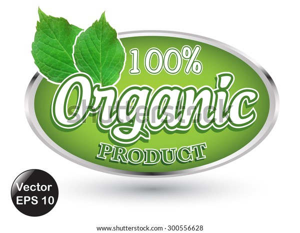 Label Organic Products Isolated White Background Stock