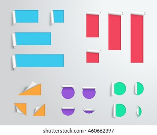 Label Origami Blank Colourful 3d Big Vector Template
