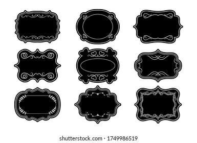 Label ornamental black craft frames set. Elegant royal ornate sticker tag. Decorative vintage empty curly frame collection. Divider curl and swirl calligraphic elements. Isolated vector illustration