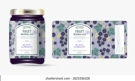 Label and packaging of black currant marmalade. Jar with label. Text in frame with stamp (sugar free) on seamless pattern with berries, flowers and leaves.
