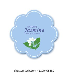 Label, packaging design with a jasmine flower for essential oil, cream, soap, perfume, air freshener, etc.