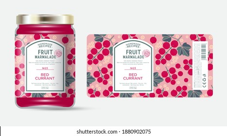 Label and packaging of red currant marmalade. Jar with label. Text in frame with stamp (sugar free) on seamless pattern with berries, flowers and leaves.