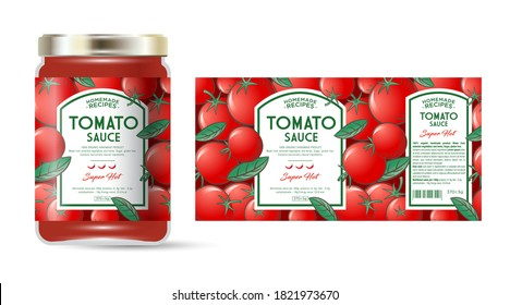 Label and packaging of tomato hot sauce with chili pepper. Jar with label. Text in frames on seamless pattern with ripe tomatoes and leaves.