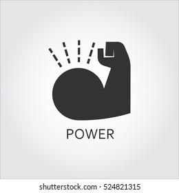Label of power. Muscle hand. Simple black icon. Logo drawn in flat style. Black shape pictograph for your design needs. Vector contour silhouette on white background.