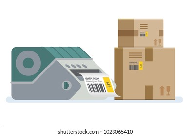 Label printer with boxes. Packaging boxes marked with a bar code. Vector icon illustration