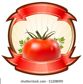 Label for a product (ketchup, sauce) with photo-realistic vector illustration of tomato.