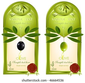 Label for product. Olive oil. Wax seal 100% olive oil.