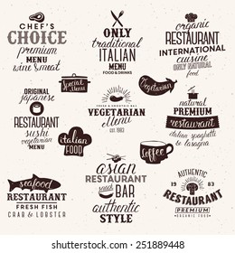 Label for restaurant and cafe