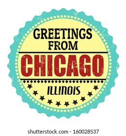 Label or  rubber stamp with text Greetings from Chicago, vector illustration