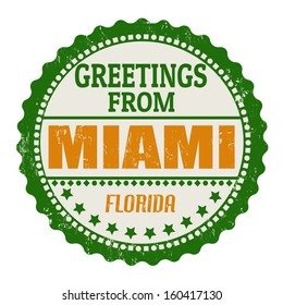 Label or rubber stamp with text Greetings from Miami, vector illustration