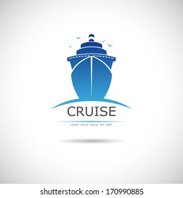 Label with sea cruise liner. Vector.