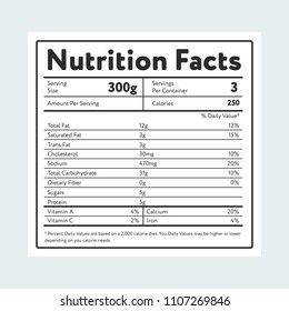 Label showing nutrition facts and weight with various micronutrients and servings on light blue background