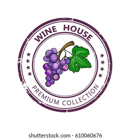 Label stamp with wine collection and colored grape isolated on white background