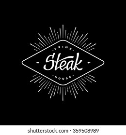 Label steak with hand lettering. Retro design. Starburst.