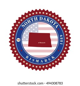 Label sticker cards of State North Dakota USA. Stylized badge with the name of the State, year of creation, the contour maps and the names abbreviations.
