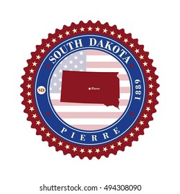 Label sticker cards of State South Dakota  USA. Stylized badge with the name of the State, year of creation, the contour maps and the names abbreviations.