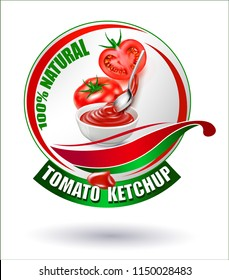 Label, sticker, logo for selling sauce and tomato.A vector image of a tomato sauce. Tomato ketchup in a white cup.Vector realistic image of a tomato.