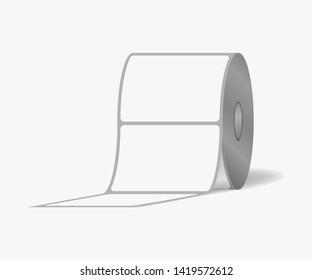 Label sticker roll. Blank adhesive labels on bobbin, vector mock-up.
