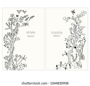 Label or stickers for ecological products with flowers and plants, vector graphic illustration, sketchy style
