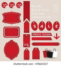 Label and tag set for the red color of Sale