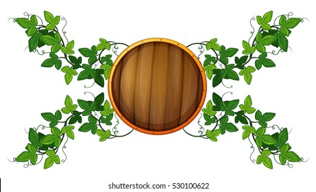 Label Template With Round Wooden Shield And Vine Illustration