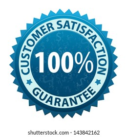 Label with text Customer satisfaction guarantee 100 percent icon or symbol isolated on white background. Vector