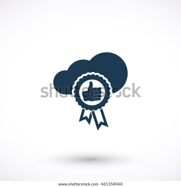 Label with thumb up vector icon. Graphic symbol for web design, logo. Isolated sign on a white background.
