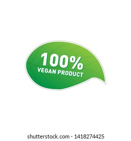 Label vegetarian food. Vector healthy food icon. 100 percent vegan food. Sticker organic products.