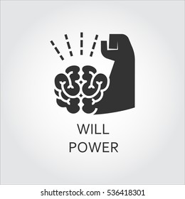 Label of willpower, self-control as brain and muscle hand. Simple black icon. Logo drawn in flat style. Black shape pictograph for your design needs. Vector contour silhouette on white background.