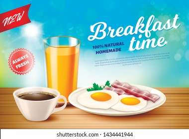 Label is Written Breakfast Time Vector Realistic. 100 Percent Natural Homemade. New is Always Fresh. On Table Cup Coffee and Glass Juice. On Flat Dish Scrambled Eggs From Two Eggs with Bacon.