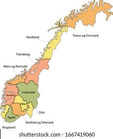 Labeled Colorful Counties Map of European Country of Norway