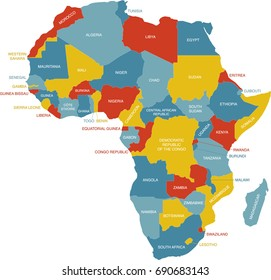 Map Of Africa And Surrounding Countries.Colorful Africa Map Countries Capital Cities Stock Illustration