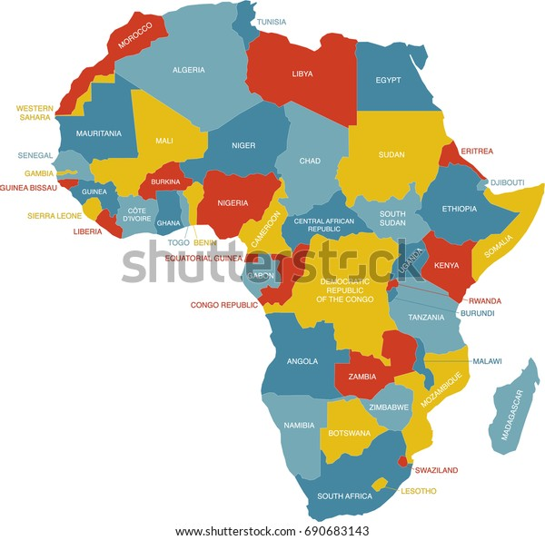Labeled Map Africa Stock Vector (Royalty Free) 690683143