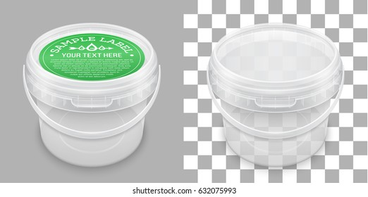 Labeled transparent empty plastic bucket for storage of food, honey or ice cream. View from above. Vector packaging mockup illustration.