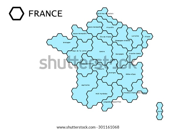 Map Of France With Regions.Labeled Vector Map France Regions Lines Stock Vector Royalty Free