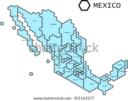 Labeled Vector Map Mexico States Lines Stock Vector Royalty Free
