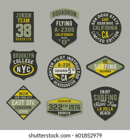 Labels and badges military and surf typography, tee shirt graphics, vectors