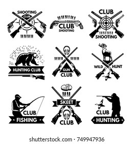 Labels and badges set for hunting club. Monochrome pictures of different animals and weapons for hunters emblems