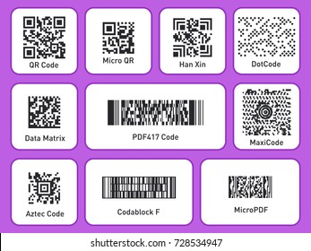 Labels with Barcodes. Packaging labels. Set of different codes. QR Code, barcode, Micro Qr, DotCode, Data Matrix, Aztec Code and MaxiCode. Vector illustration