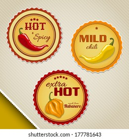 Labels for chili sauces with different peppers