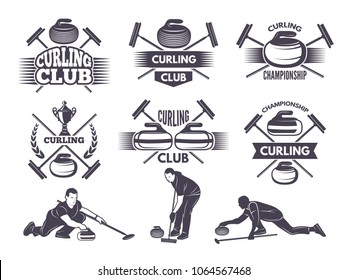 Labels for curling sport team. Curling sport with stone, competition badge and label, vector illustration