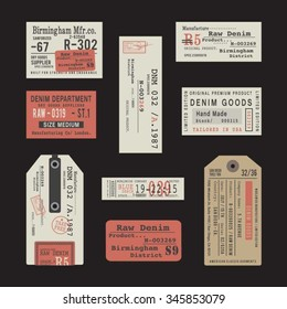 Labels of denim typography, t-shirt graphics, vectors, collection,