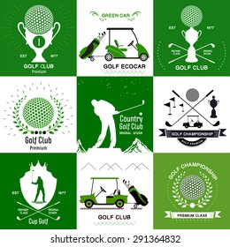 Labels and design elements Golf and electric vehicles for Golf. Set of retro Golf logos, emblems.