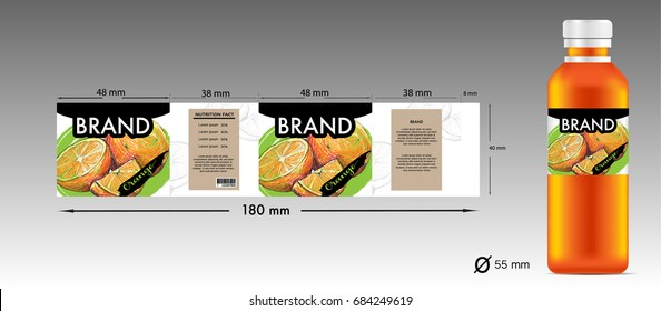 labels design for orange juice product with bottle juice.