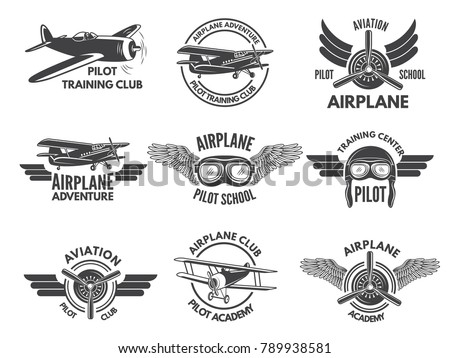 Labels Design Template With Pictures Of Airplanes Aircraft Emblem Pilot School And Aviation Transportation