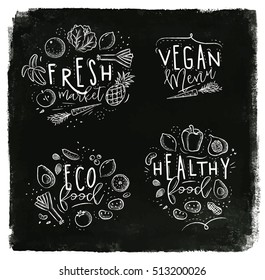 Labels eco style decorated by fruits and vegetables lettering fresh market, vegan menu, healthy food drawing with chalk on chalkboard background