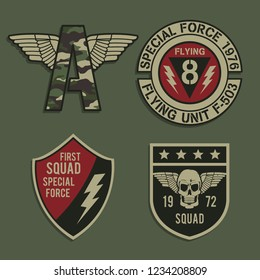 Labels of military typography, tee shirt graphics, vectors