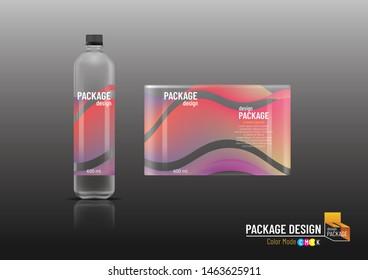 Labels & Plastic bottle, package design template, mock up, Vector illustration