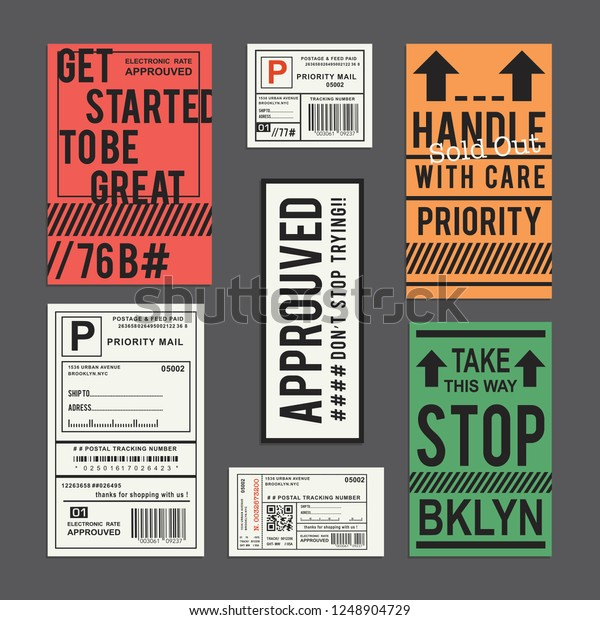 Labels Priority Mail Typography Tee Shirt Stock Vector