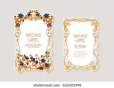 Labels for products or cosmetics in art nouveau style, vintage, old, retro style. Set of face and back sides. Stock vector illustration.